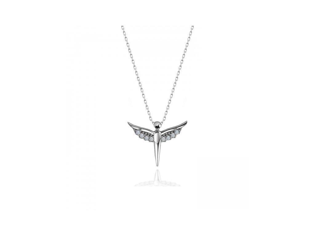 Stříbrný náhrdelník ANDĚL se Swarovski zirkony