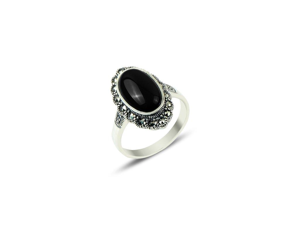 Masivní stříbrný prsten Marcasite & Onyx