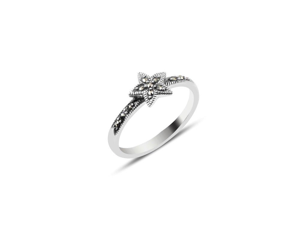 Stříbrný prsten HVĚZDA MARKAZIT, symbol Vánoc.