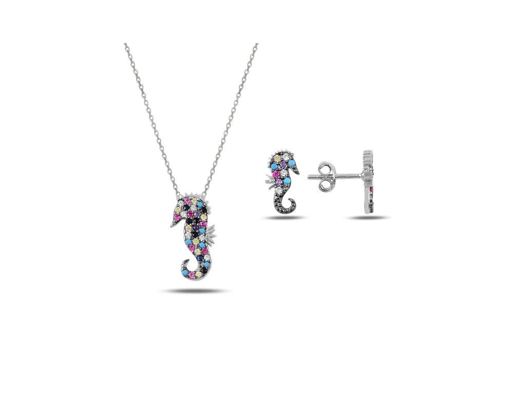 Sada stříbrných šperků MOŘSKÝ KONÍK s barevnými zirkony