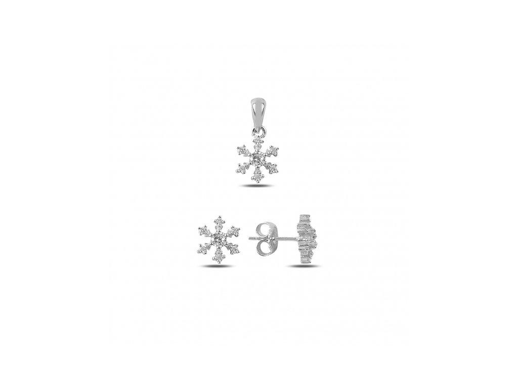 Sada stříbrných šperků SNĚHOVÁ VLOČKA