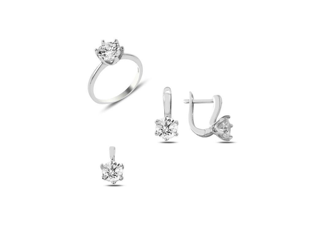 Stříbrný set s čirými zirkony, náušnice, prsten, přívěsek. Krásný dárek pro ženu!