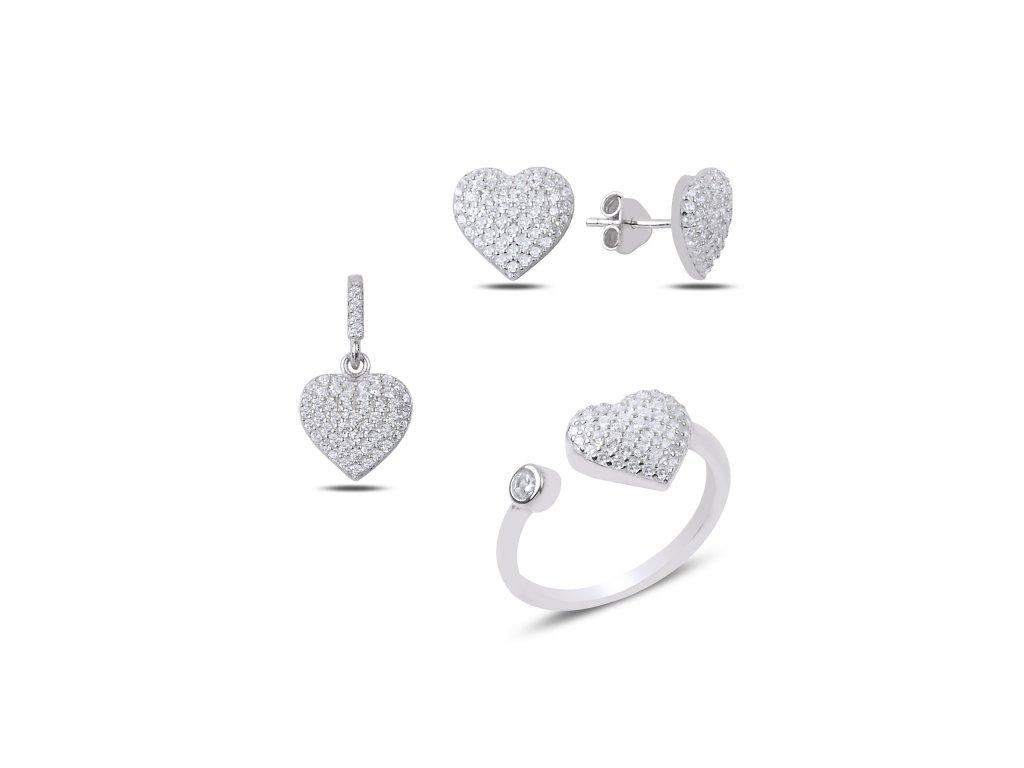 Stříbrný set SRDCE, prsten, náušnice, přívěsek. Krásný dárek narozeninám nebo Vánocům!