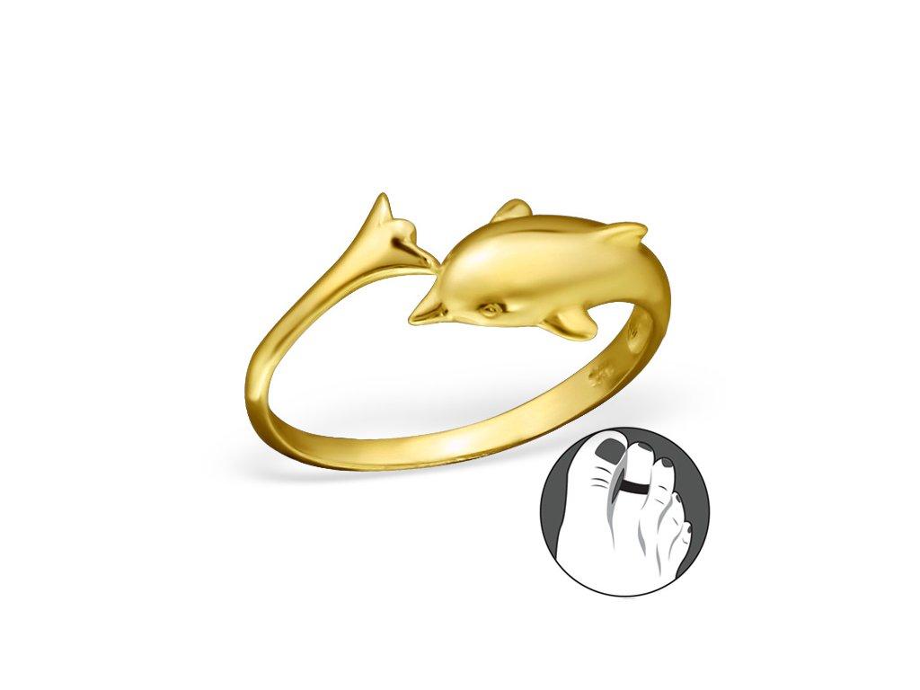 stříbrný prsten na nohu delfín OLIVIE.cz