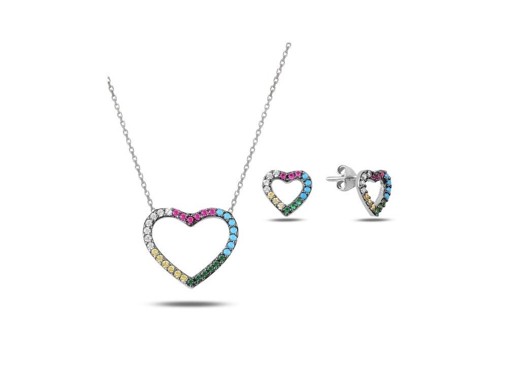 Sada stříbrných šperků BAREVNÉ SRDCE od OLIVIE