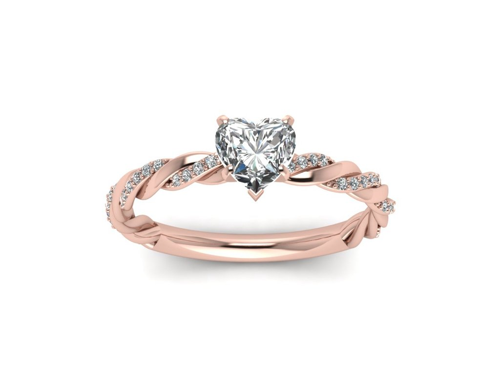 Růžově zlacený měděný stříbrný prsten se srdíčkem. Krásný dárek k Valentýnu, narozeninám nebo k Vánocům pro ženu, partnerku, manželku.