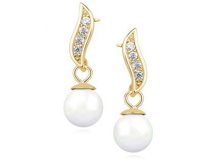 Stříbrné perlové náušnice GOLD se zirkony