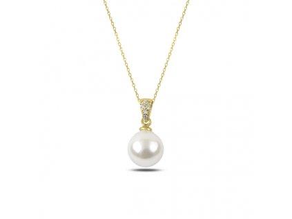 3153 Stříbrný řetízek s perličkou GOLD  Ag 925; ≤2,99 g.