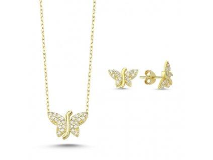 Sada stříbrných šperků MOTÝL GOLD