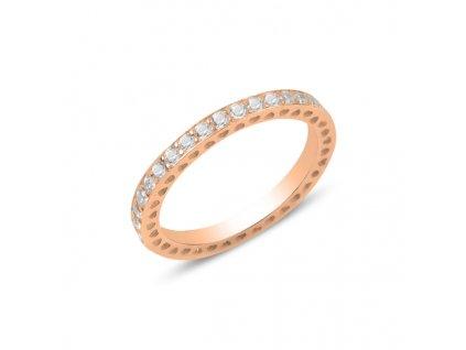 Stříbrný prsten ROSE, ůžově zlaceno, čiré zirkony.