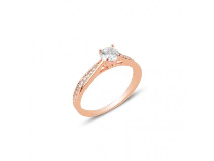 Stříbrný prsten ROSE růžově zlacený s čirým zironem