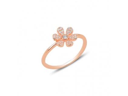 Stříbrný květinový prsten ROSE, růžově zlacený.