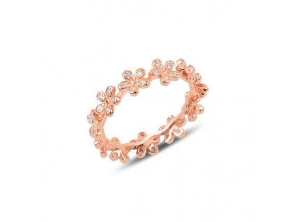 Stříbrný květinový prsten ROSE