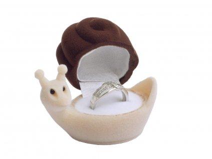 Dárková sametová krabička na prsten HLEMÝŽĎ šnek