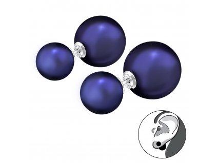 Stříbrné dvojité náušnice NIGHT BLUE