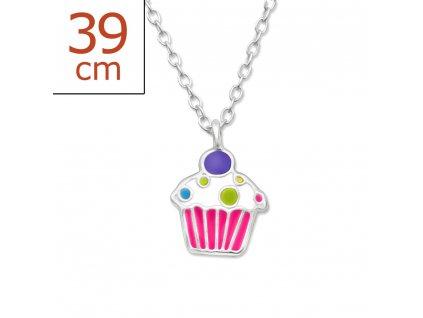 dětský stříbrný řetízek cupcake