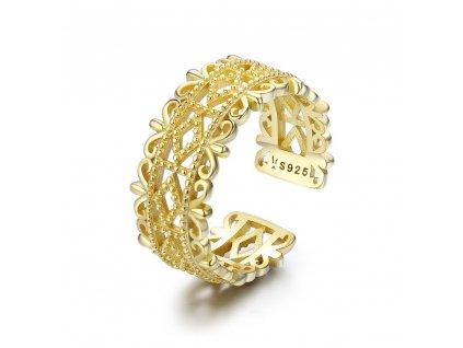 Stříbrný pozlacený prsten, nastavitelná velikost