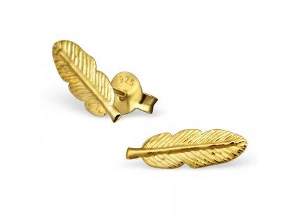 Stříbrné náušnice pírko gold