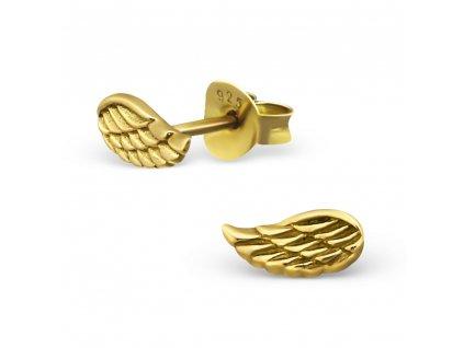 Stříbrné náušnice křídlo gold