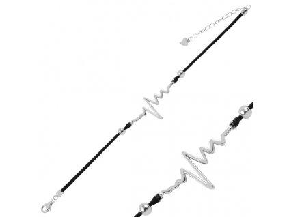 Stříbrný provázkový náramek TLUKOT SRDCE