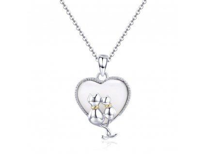 Stříbrný náhrdelník VELKÁ LÁSKA KOČKY MUŠLE