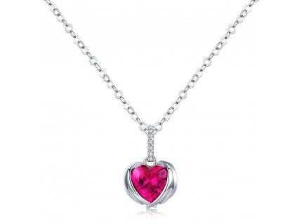 Stříbrný náhrdelník červené ANDĚLSKÉ SRDCE, dárek k Vánocům, na Valentýna