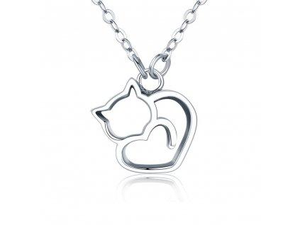 Stříbrný náhrdelník ZAMILOVANÁ KOČKA, krásný dárek k Valentýnu