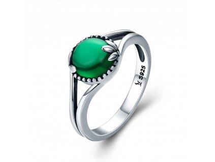 Stříbrný prsten SMARAGDOVÝ ZIRKON zelený
