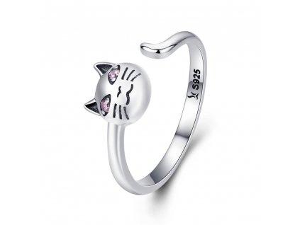 Stříbrný prsten KOČKA růžové oči 925