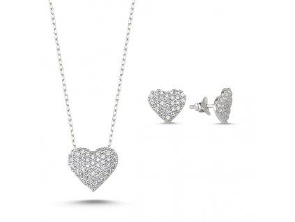 Sada stříbrných šperků SRDCE