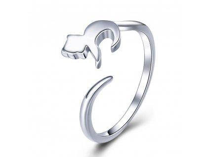 KOČKA stříbrný prsten nastavitelná velikost