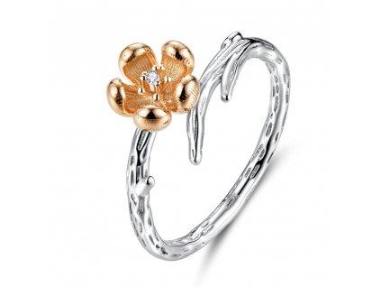 Stříbrný prsten MĚDĚNÁ RŮŽE