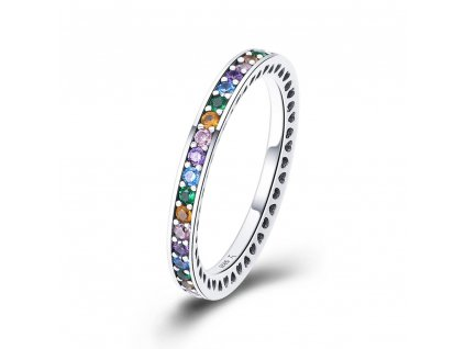 Vícebarevný stříbrný prstýnek