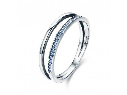 Stříbrný prsten MODRÁ LINIE od OLIVIE