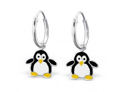 Dětské stříbrné náušnice tučňák