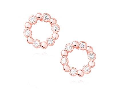 Stříbrné náušnice KRUH ROSE růžově zlacené
