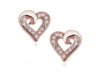 Stříbrné náušnice SRDCE ROSE růžově pozlacené