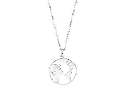 Stříbrný náhrdelník SVĚT, ZEMĚ, ZEMĚKOULE