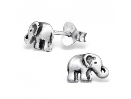 Dětské stříbrné náušnice slon