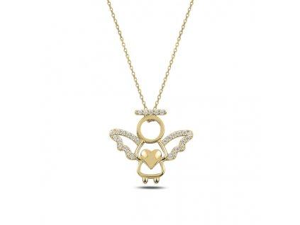 Stříbrný náhrdelník ZLATÝ ANDĚL