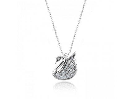 Stříbrný náhrdelník LABUŤ Swarovski