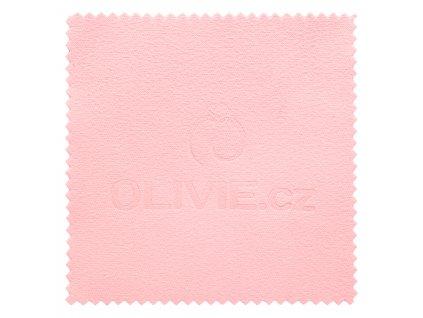 růžový hadřík, čistící utěrka na stříbro OLIVIE