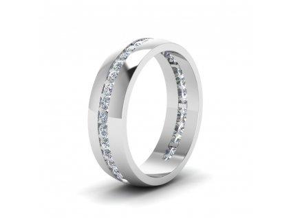 Stříbrný rhodiovaný prsten snubní