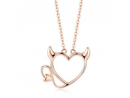 Stříbrný náhrdelník SRDCE ĎÁBLÍK, vánoční dárek pro ženu, dárek k narozeninám.