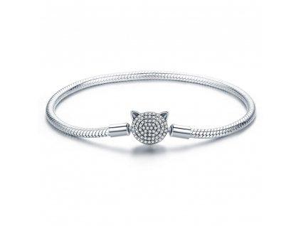 Stříbrný kruhový náramek KOČKA. Luxusní dárek pro partnerku, ženu, kolegyni, šéfovou.