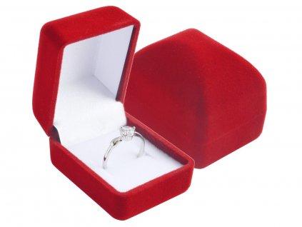 Dárková sametová červená krabička MINI na prstýnek, náušnice.