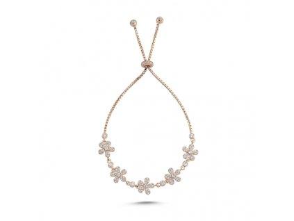 Stříbrný květinový náramek ROSE růžově zlacený, krásný dárek pro ženu