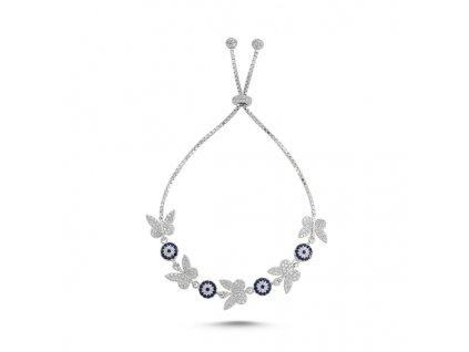 Stříbrný posuvný náramek MOTÝLÍ REJ, modré oko