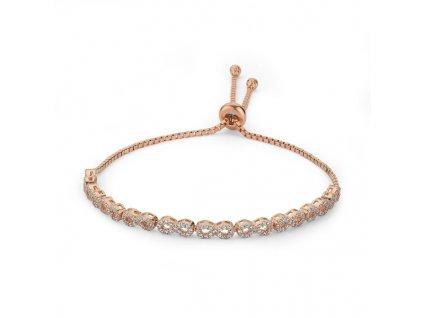 Stříbrný náramek NEKONEČNO ROSE růžově zlacený, luxusní dárek pro ženu.