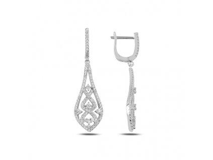 Svatební dlouhé stříbrné náušnice od OLIVIE